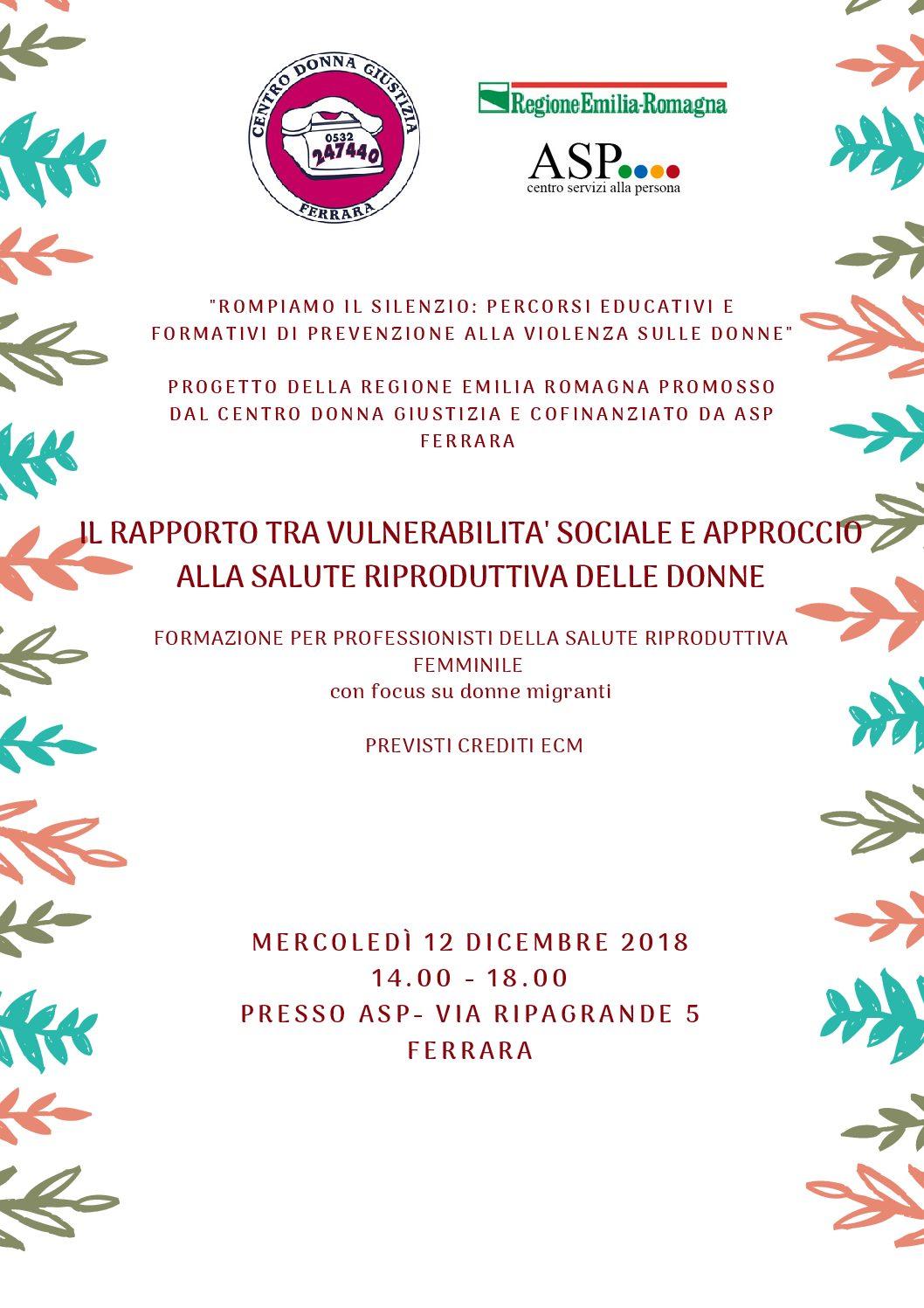 """""""Il rapporto tra vulnerabilità sociale approccio alla salute riproduttiva delle donne"""" – Formazione"""